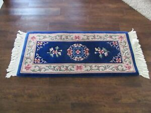 Lovely Small 2x4 Oriental Rug Unique Design Navy Blue Wool