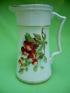 Antique Porcelain Pitcher W Cherries On Both Sides Reminds Of Hutschenreuther Vg