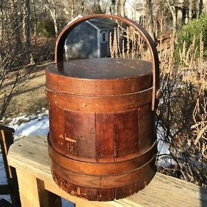Antique Primitive Firkin Wooden Sugar Bucket With Swing Handle Lid Sewing Box