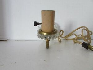 Vtg Victorian Pressed Clear Glass Wall Sconce Gold Metal Arm Cloth Wire
