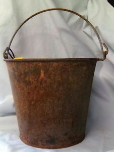 Antique Vintage Galvanized Metal Primitive Rustic Pail Bucket