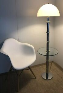 Vintage Mid Century Danish Modern Mushroom Milo Baughman Era Table Floor Lamp