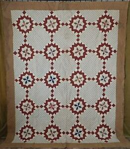 So Early Pre 1830 Antique Star Quilt Incredible Fabric Selection Museum Nj Prov