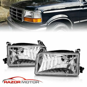 1992 1993 1994 1995 1996 For Ford Bronco f150 f250 f350 Chrome Headlights Pair