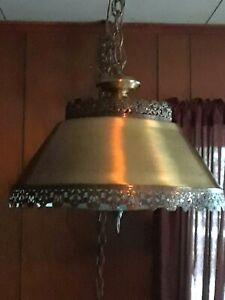 Vintage Mid Century Modern Brass Ornate Swag Lamp Chandelier Hollywood Regency