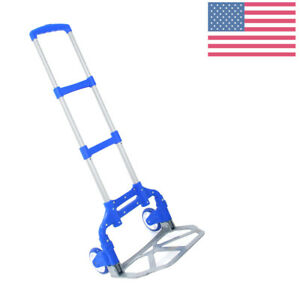 Aluminium Folding Hand Truck Cart Collapsible Trolley For Moving Warehouse Us