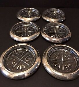 Vintage Set Of 6 Silverplate And Clear Glass Coasters