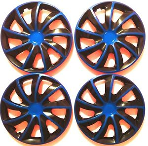 15 Inch Hubcaps Wheel Covers Universal Wheel Rim Cover 4 Pieces Set Black Blue