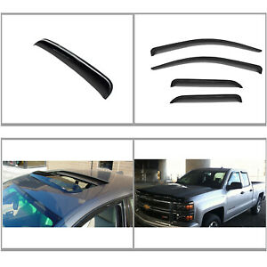 5pc Vent Shade Window Sun Moon Roof Visors Fit 14 18 Silverado Sierra Double Cab