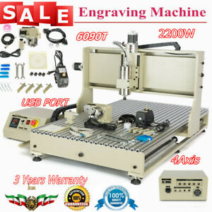 Usb 4 Axis Cnc 6090gz Router Engraver Metal Milling Machine Ball screw 2200w 3d