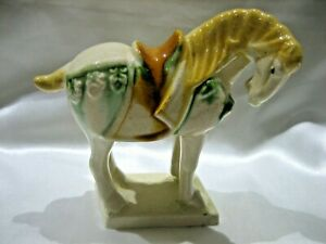Estate Vintage Chinese Tang Sancai Porcelain Glazed White Horse