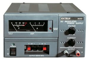 Extech 382203 Analog Triple Output Dc Power Supply Adjustable To 30v 3a