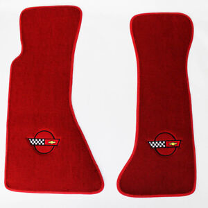 New Red Floor Mats 1984 1996 Corvette With Embroidered Circle Official Gm Logo