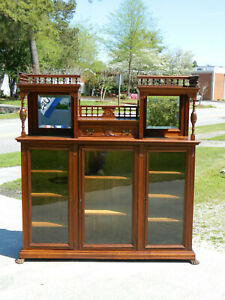 Walnut Victorian Bookcase Display Cabinet Circa 1890
