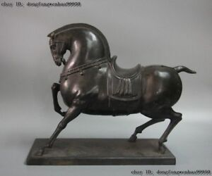 Chinese Pure Bronze Copper Feng Shui Auspicious Wealth Horse Tang Horses Statue