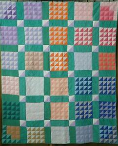 Vintage 30s Farmhouse Or Cottage Green Flying Geese Quilt 78x65