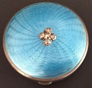 Antique 19c Russian Faberge Blue Guilloche Enamel Rose Cut Diamonds Box 84silver