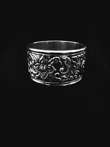 Antique Siam Sterling Silver Napkin Ring Repousse Style Rare