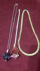 Beautiful Sterling Silver Pieces Ring Bracelet And 2 Necklaces 54 Grams 14