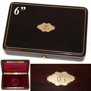 Antique French Solid Rosewood Brass Inlay Coin Or Pocket Watch Box Case Etui