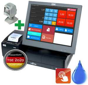 Wincor Cash Register System 15 15in Touch Monitor Barcode Scanner Software