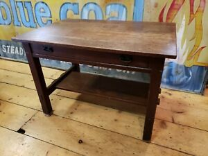 1907 1912 L J G Stickley Single Draw Library Table Marked Mission