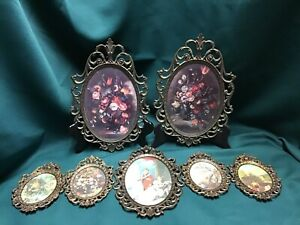 7 Vintage Ornate Brass Tone Oval Picture Frames Convex Glass Italy Floral