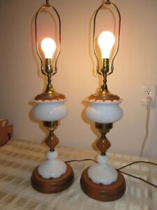 Early American Pair White Milk Glass Hobnail Maple Wood Table Lamps