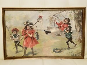 Vintage Framed Print Victorian Children Playing Swinging Butterfly Nets