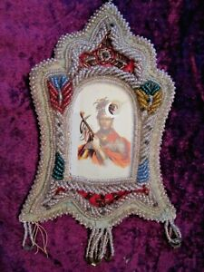 Antique Iroquois Beaded Picture Frame With Image Of Chief Cornplanter