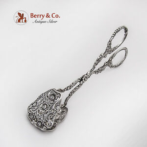 Openwork Floral Scroll Pastry Small Sandwich Tongs German 800 Silver 1930