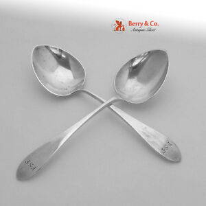Arthur Stone 2 Pointed End Small Serving Spoons Sterling Silver 1906