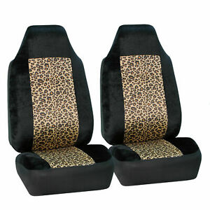 Brown Black Leopard Car Seat Covers 2 Highback Front Buckets For Suv Car Jeep