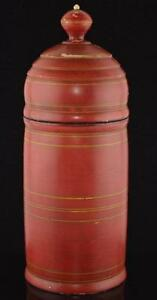 Treenware Lidded Canister 19th Century Treenware Storage Canister 9 3 4