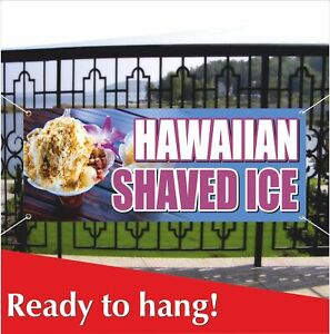 Hawaiian Shaved Ice Banner Vinyl Mesh Banner Sign Snowcone Snow Cones Snow