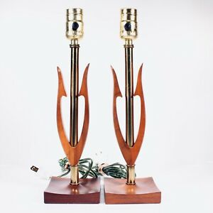 Mid Century Modern Danish Style Pair Of Table Lamps Mcm Wood Metal