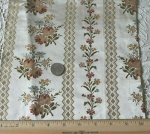 Stunning Antique C1870 French Silk Brocaded Roses Lampas Fabric L 40 X W 9 5