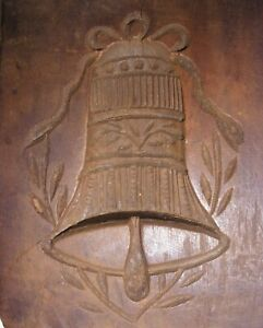 Antique Wood Springerle Cookie Mold Primitive Hand Carved Bell Germany