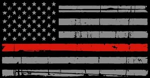A Thin Red Line American Flag Distressed Fire Fighter Decal Sticker 4 X 2