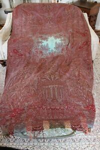 Rare Antique Turquoise Center Wool Paisley Kashmir Shawl L 125 X W 62