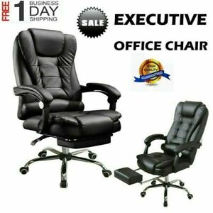Executive Swivel Office Chair Racing Car Style Bucket Seat Pu Leather High Hot V