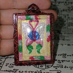Magic Kruba Krissana King Butterfly Buddha Amulet Sexual Attraction Red Necklace