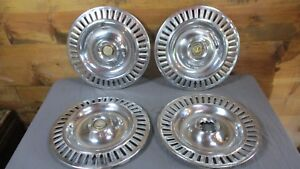 Set Of 4 1955 56 Vintage Chrysler Imperial Hubcaps Auto Mechanic Garage Man 300