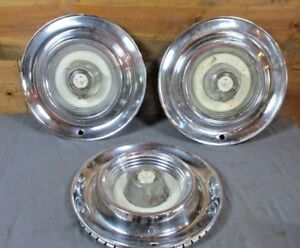 Set Of 3 Vintage 1957 1958 Chrysler Imperial Hubcaps Auto Mechanic Garage Man