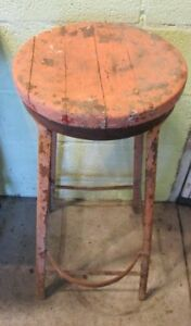 Vintage Industrial Drafting Workshop Stool Chair Shabby Salmon Paint Vintage Bar