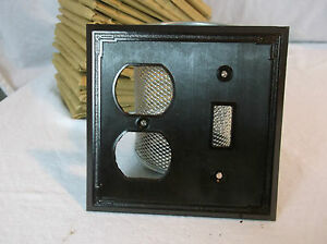 Brown Bakelite Wall Switch Outlet Combo Plate Vintage Nos Switchplate Art Deco