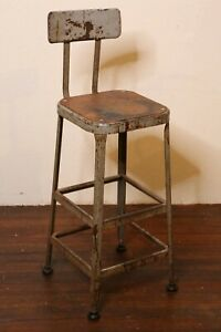 Lyon Industrial Stool Vintage Steel And Wood Seat Gray Workbench Island Chair