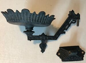 Antique Victorian Cast Iron Wall Mount Oil Lamp Holder Bracket