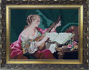 Large Antique Needlepoint Embroidery Lady With Mandolin With Gold Accent Frame