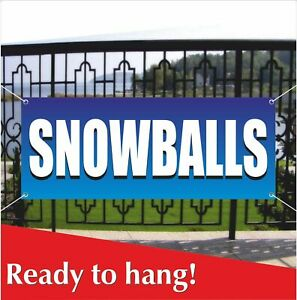 Snowballs Banner Vinyl Mesh Banner Sign Carnival Food Snow Balls Shaved Ice